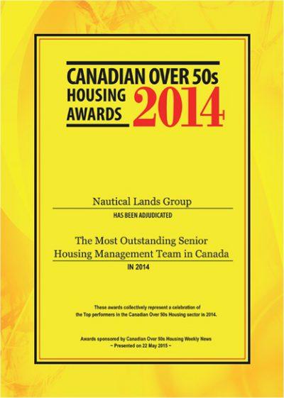 Cnadian Over 50s Housing Award 2014 Nautical Lands Group